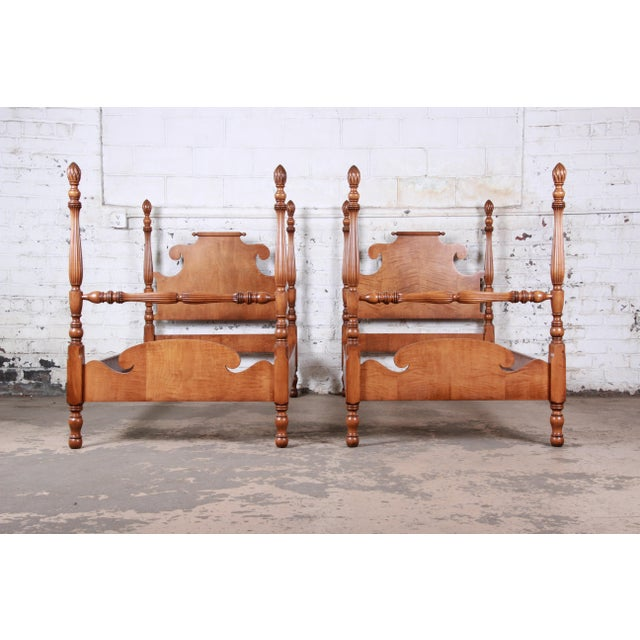 Vintage Tiger Maple Twin Pineapple Poster Beds, Pair For Sale - Image 13 of 13