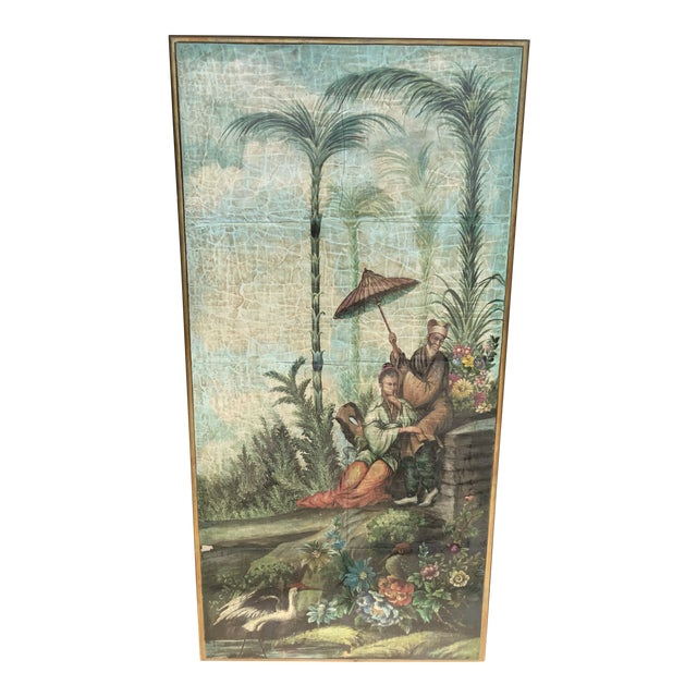 Chinoiserie Decoupaged Wall Hanging For Sale