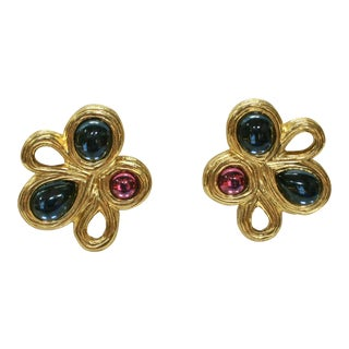 Givenchy Gripoix Modernist Clip Back Earrings For Sale