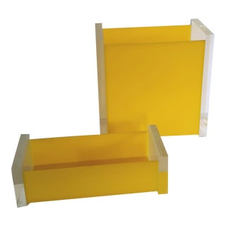George Bullio Vintage Lucite Acrylic Wastebasket and Small Lucite Box Set Yellow For Sale