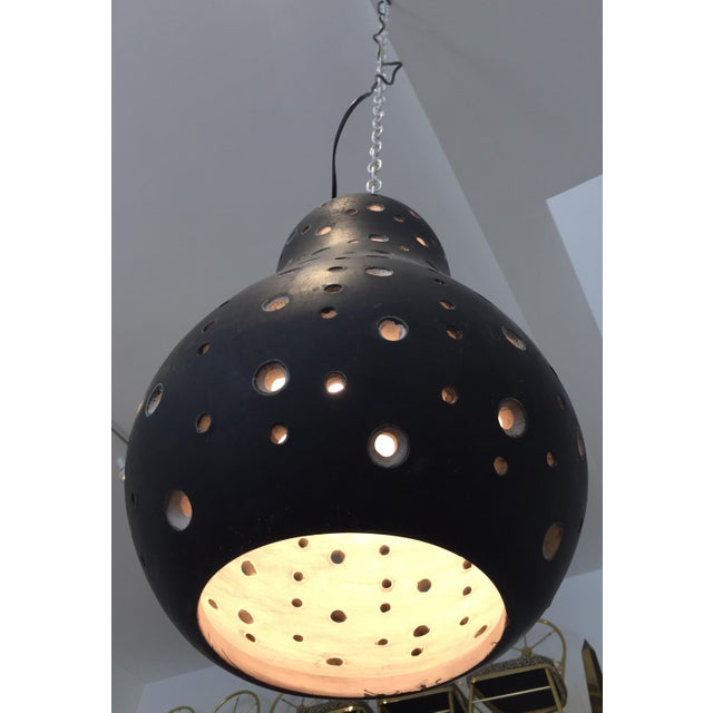 Abstract 1950's Vintage Perforated Ceramic Pendant Light For Sale - Image 3 of 11