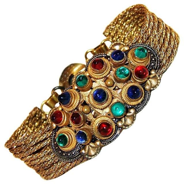 Art Deco 1930 Czech Jewel Toned Glass Cabochon Multi Chain Bracelet For Sale - Image 3 of 6