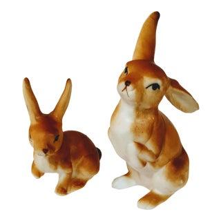 Vintage Rabbit Bunny Porcelain Figurines - a Pair For Sale