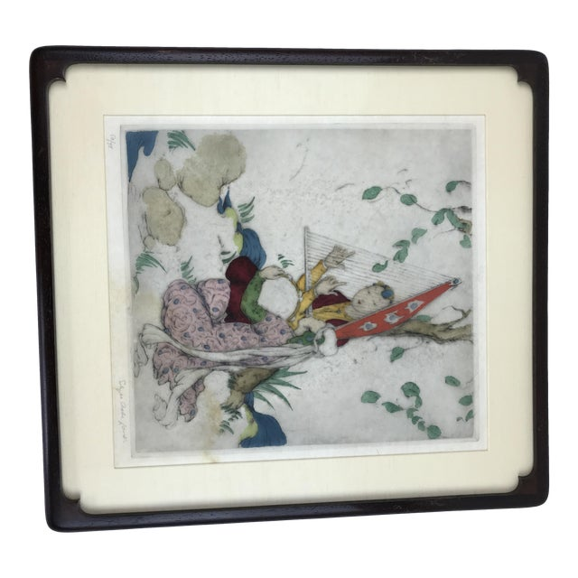Framed Elyse Ashe Lord Women With Harp and Tamborine Musical Painting For Sale