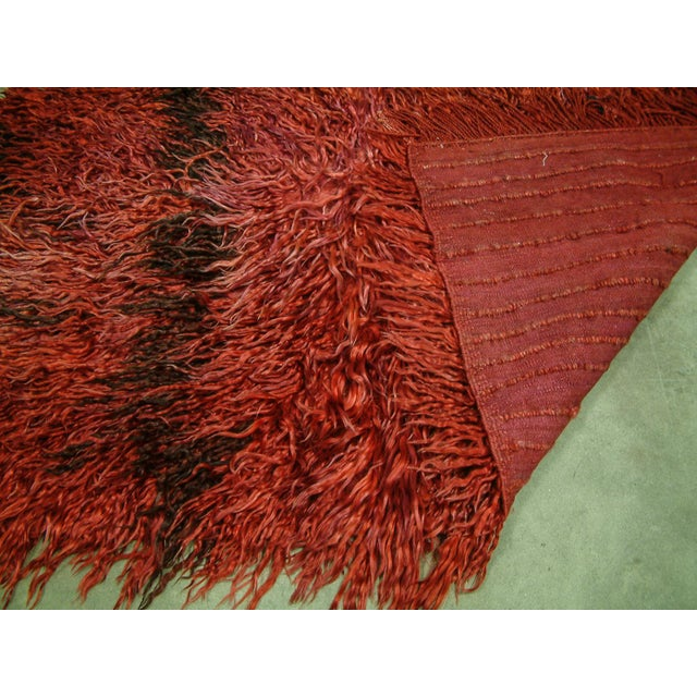 Circa 1960 Vintage Turkish Angora Red Long Pile Tulu Rug For Sale In Richmond - Image 6 of 7