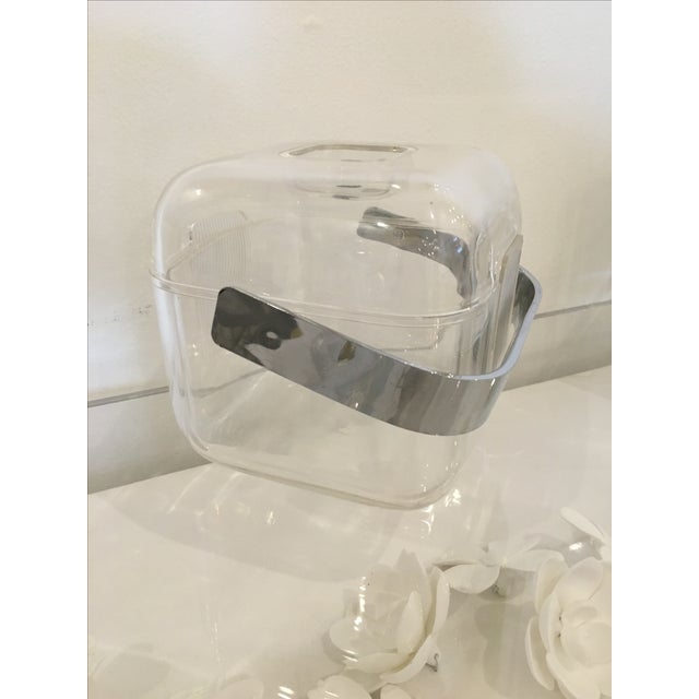 Mid-Century Modern Italian Signed Lucite and Chrome Guzzini Ice Bucket - Image 3 of 7