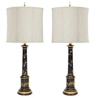 Italian Tole Lamps by F. Cooper, a Pair For Sale