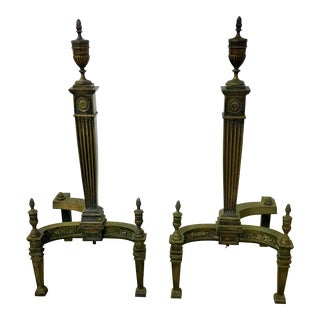 Antique Federal Style Brass Andirons - a Pair For Sale