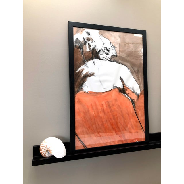 """Contemporary Contemporary Figure Drawing in Orange and Black, """"Queen Gloria"""" by David O. Smith For Sale - Image 3 of 12"""