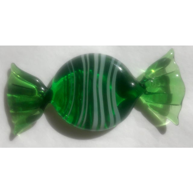 Modern 1970s Vintage Italian Murano Glass Green Candies - Set of 5 For Sale - Image 3 of 8