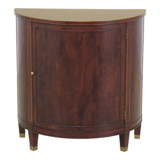 1980s Traditional Baker 1/2 Round Demilune Mahogany Console Cabinet For Sale