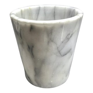 White Marble Paper Waste Bin For Sale