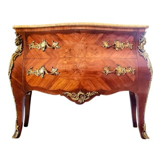 French Louis XV Style Marquetry Bombe Commode For Sale