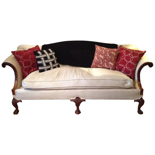 American Chippendale Style Carved Walnut Settee For Sale