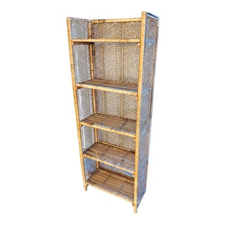 Boho Chic Rattan Wicker Folding Bookshelf For Sale