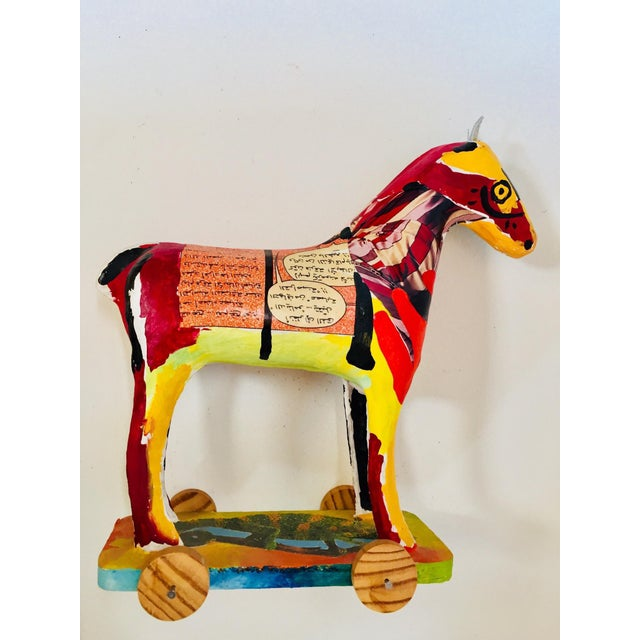 Folk Art Papier Mâché Sculpture of a Horse in Polychrome Arabic Writing For Sale - Image 3 of 12