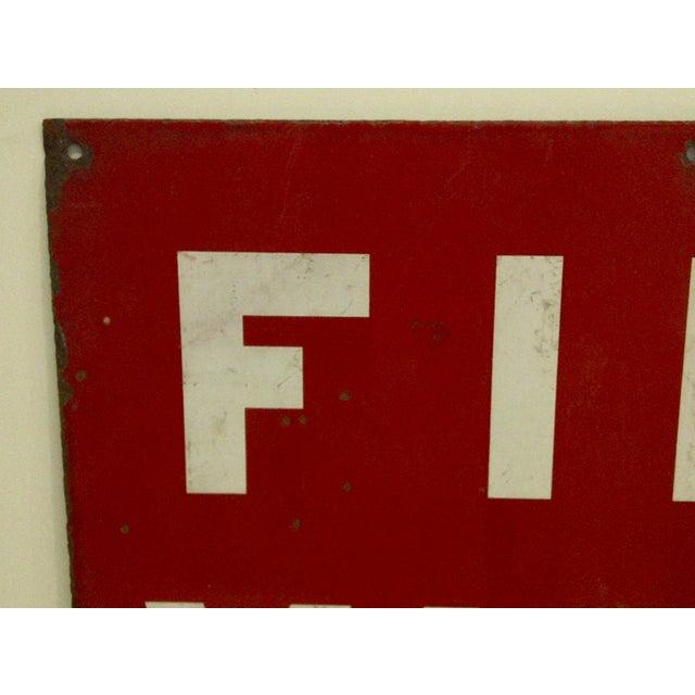 """Industrial Vintage Porcelain Sign """"Fire Valve"""" For Sale - Image 3 of 6"""