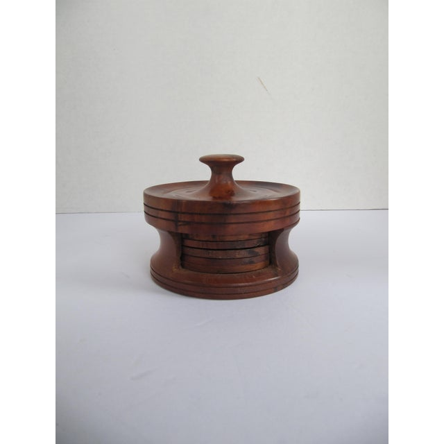 Traditional Vintage Wood Coasters in Holder- 8 Pieces For Sale - Image 3 of 3