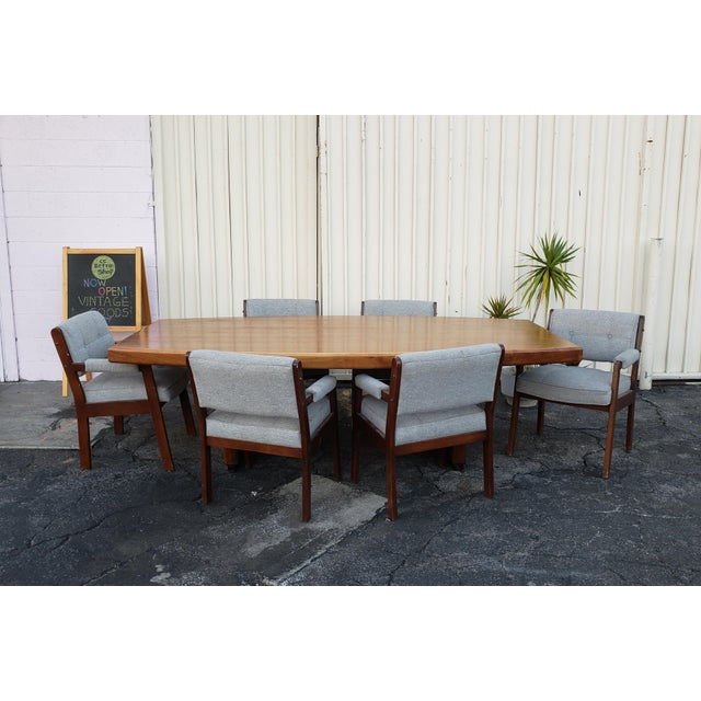 Mid-Century Modern Vintage Walnut Dining / Conference Table For Sale - Image 3 of 4