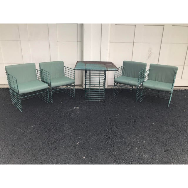 Rare Josef Hoffmann Style Curvilinear Perforated Outdoor Dining Set - 5 Pieces For Sale - Image 11 of 12