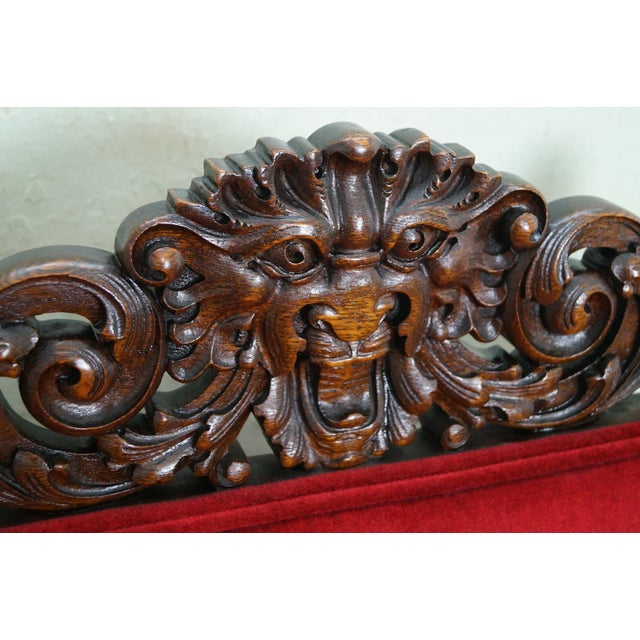 Antique Lion Head Solid Oak Renaissance Arm Chair - Image 5 of 10