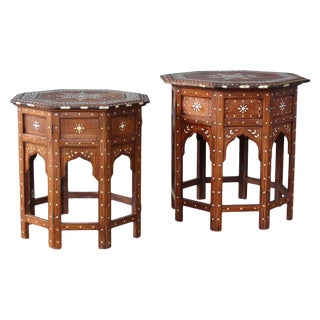 Pair of Inlaid Antique Syrian Side Tables. For Sale