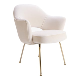 Saarinen Executive Arm Chairs in Crème Velvet, 24k Gold Edition