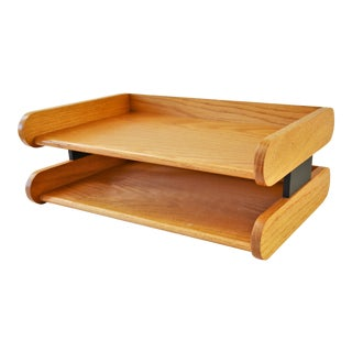 1970s Oak Double Letter Tray by Peter Pepper Products For Sale