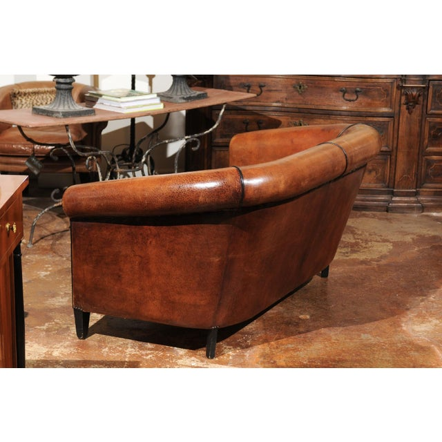 French French Turn of the Century Brown Leather Sofa with Nailhead Trim, circa 1900 For Sale - Image 3 of 12