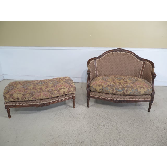 Item: 29698EC: French Louis XV Style Loveseat w. Matching Ottoman Age: Approx: 20 Years Old Details: High Quality...