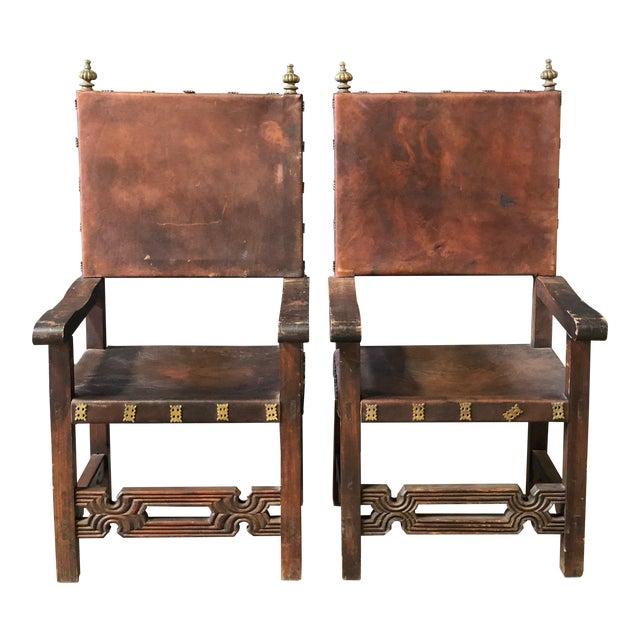 Pair of Antique Leather and Wood Spanish Revival Arm Chairs For Sale