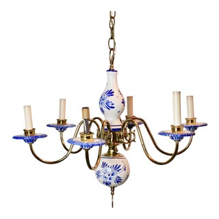 Vintage Delft Blue & White Brass Ceramic Chandelier For Sale