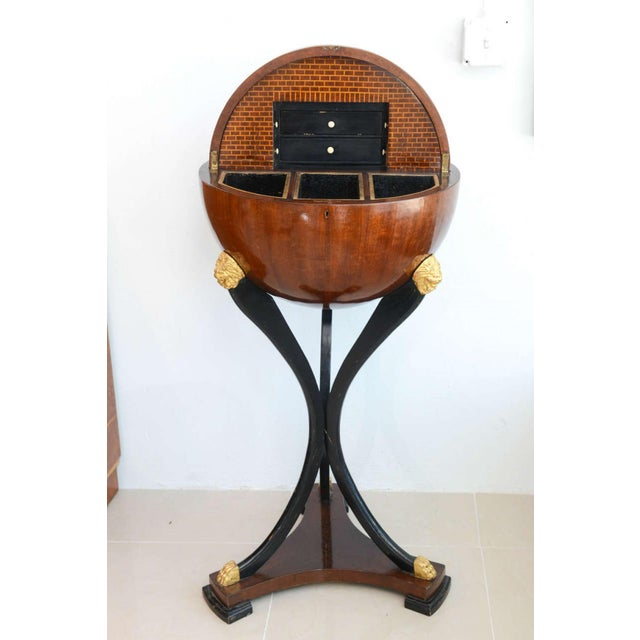 Biedermeier Fine Biedermeier Mahogany, Ebonized and Parcel-Gilt Globe Form Work Desk For Sale - Image 3 of 9