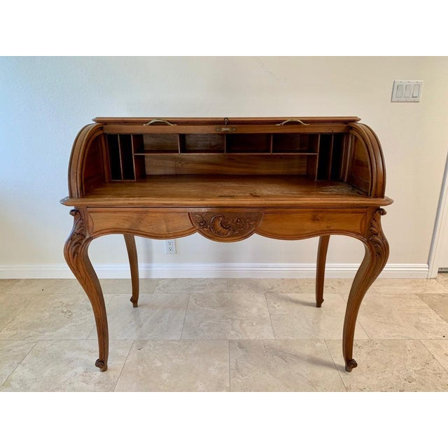Antique French Walnut Tambour Top Desk For Sale - Image 4 of 13