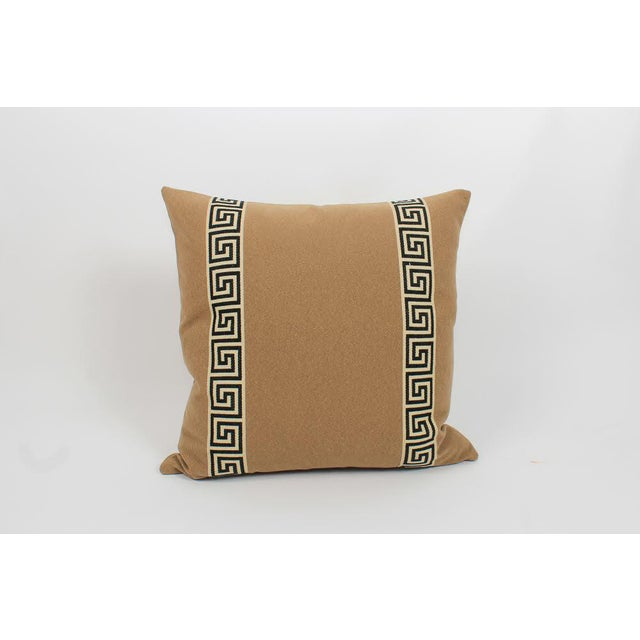 Traditional Camel Wool Blend Greek Key Trim Pillows, a Pair For Sale - Image 3 of 8