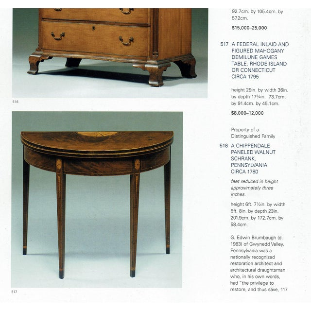 American Federal Inlaid & Figured Mahogany Demilune Games Table Rhode Island or Connecticut C1795 For Sale - Image 12 of 13