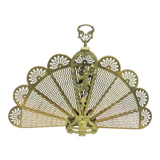 Art Nouveau Figural Brass Firescreen For Sale