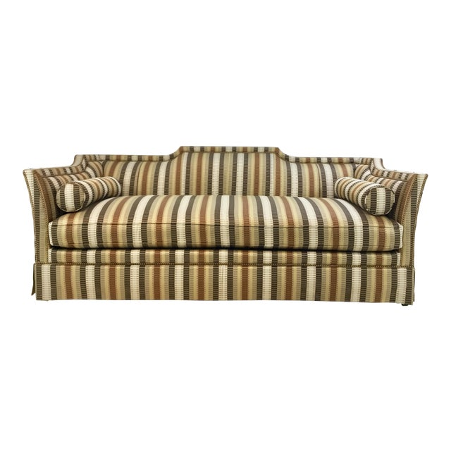 Metal Traditional Hickory White Earth Tone Striped Sofa For Sale - Image 7 of 7