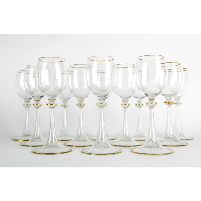 Vintage baccarat crystal wine / water glassware set of 12 pieces. Each glass is in excellent condition. Each glass measure...