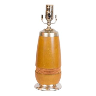 Vintage Wood Table Lamp with Silver Base For Sale