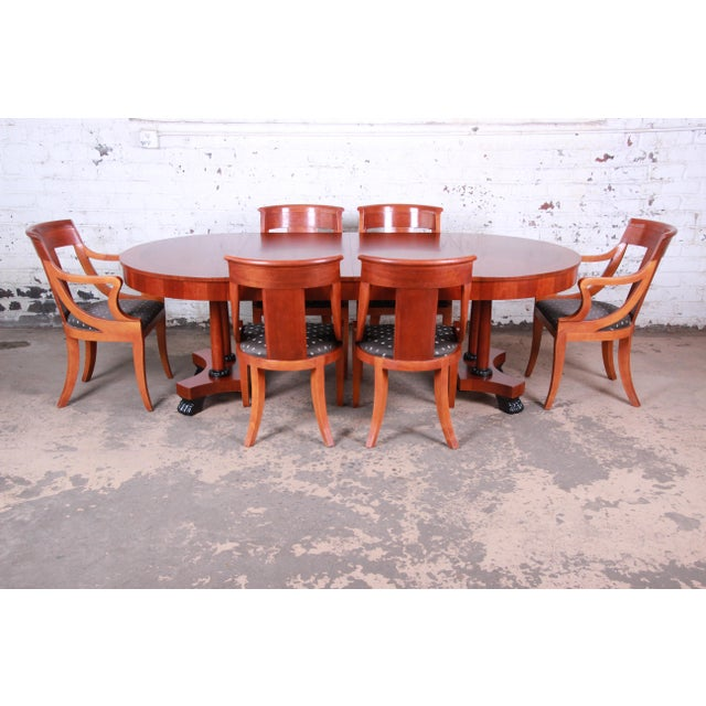 Baker Furniture Palladian Collection Neoclassical Cherry Wood Dining Set For Sale - Image 13 of 13