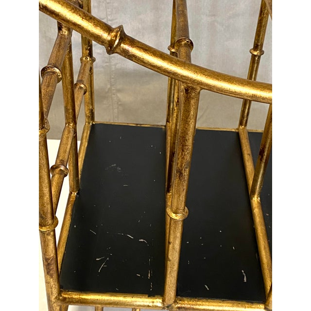 1950s Beautiful Vintage Gilt Gold Canterbury Magazine Rack Stand Asian Style Fabulous For Sale - Image 5 of 8