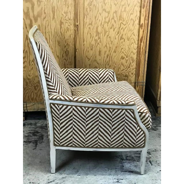 Moderne White -Washed Framed Bergere Chair with Custom Upholstery - Image 5 of 7