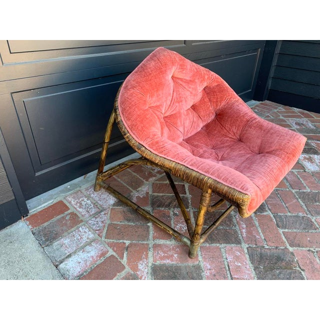 1950s Vintage Upholstered Salmon Tufted Chair For Sale In Los Angeles - Image 6 of 7