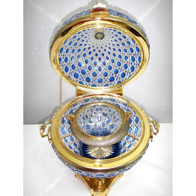 Monumental Crystal and 24k Caviar Bowl by Cristal Benito For Sale - Image 12 of 13