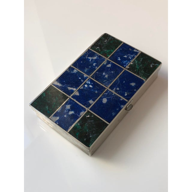 Chic Lapis Lazuli, malachite and silver box made in France in the 1960s. Great condition. Great minimalist design...
