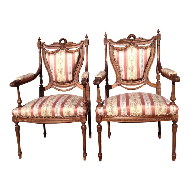 19th Century French Carved Mahogany Dining Arm Chairs - a Pair - Image 1 of 11