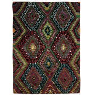 Vintage Jewel Tone Turkish Kilim | 6'3 X 8'6 For Sale