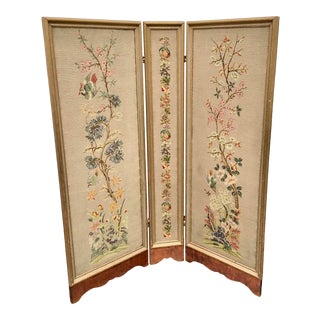 English Needlepoint Privacy Folding Screen Room Divider For Sale