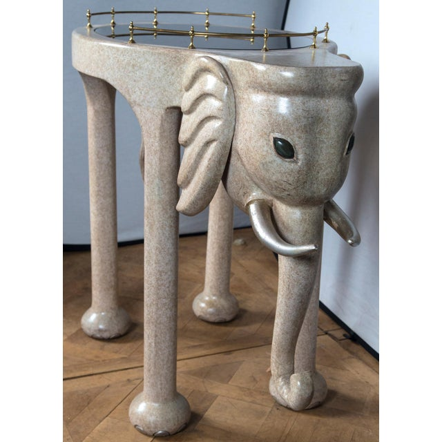 Light Gray Elephant Rolling Bar Cart For Sale - Image 8 of 12